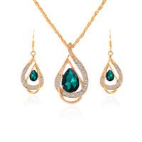 opala safira ouro venda por atacado-2018 Moda Sapphire + Cristal Austríaco oco Conjuntos de jóias declaração 18 K de ouro Opala Pingente de Colar Brinco Set com Swarovski Elements