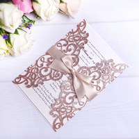 invitación del corte del laser para el cumpleaños al por mayor-2019 nuevas tarjetas de invitaciones de corte láser de brillo de oro rosa con cintas de color beige para la boda nupcial compromiso de cumpleaños graduación de cumpleaños