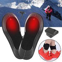 elektrikli ısıtma ayakkabıları toptan satış-Siyah Pil Elektrikli Isıtmalı Ayakkabı Tabanlık Kış Isınma Açık Ayak Isıtıcı Nefes Deodorant