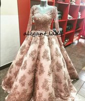 ingrosso abito da sera manica piena rosa-Blush Pink Skirt Evening Formal Dresses with Manica lunga 2018 Immagine reale V-neck Full Beaded Lace Applique Princess Prom Gown