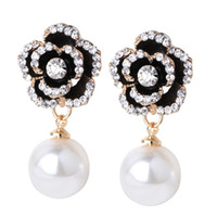 Wholesale Brilliant Diamond Earrings - Europe The United States Exquisite Classic Wild Gold-plated Real Ultra-brilliant Pearl Diamond Stud Earrings