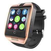 смарт-часы телефон facebook оптовых-Q18 SmartWatch телефон смарт-часы TF SIM-карты Bluetooth Smart Wear сенсорный часы шагомер водонепроницаемый смарт браслет Браслет Facebook Группа