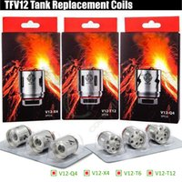 Wholesale e cigarette atomizer replacement - TFV12 V12-T12 V12-T6 V12-X4 V12-Q4 Replacement Coils TFV Prince Tank Atomizer Rebuildable core Head Quadruple Coil e cigarettes Vape vapors