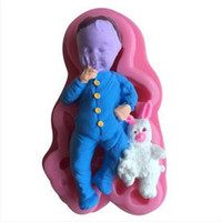 Wholesale 3d fondant baby mold resale online - D Baby Shape Fondant Cake Silicone Mold DIY Sugar Candy Mold Decorating Tools