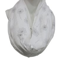 Wholesale Womens Infinity Scarfs - FOXMOTHER 2017 New Fashionable Woman White Navy Grey Shiny Bronzing Silver Dandelion Infinity Scarf Womens