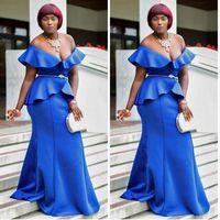 más los vestidos de coctel coral del tamaño al por mayor-Royal Blue Low Cut Prom Dresses Plus Size Peplum sirena vestidos de noche vestido de coctel de mujeres sudafricano vestido de madre por encargo