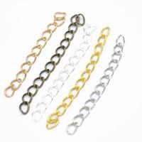 genişletilmiş zincir toptan satış-Takı Yapımı Bulguları Kolye Bilezik Zinciri için 1000pcs 7 * 50mm Extended Uzatma Zincirleri 5 Renk Kuyruk Extender