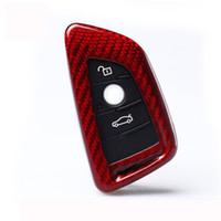 capa da chave x5 venda por atacado-Tampa de escudo vermelha da chave do carro da fibra do carbono cabida para BMW X5 X6 X1