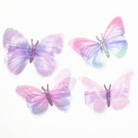 kelebek klibi saç yayları toptan satış-10 Adet / grup Kızlar Saç Aksesuarları Güzel Kelebek Tokalar Şifon Tokalar Çocuk Barrette Çiçek Klip Yay Toka 15 renkler
