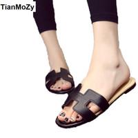 Wholesale Flat Sandals Bling - summer white shoes women comfort sandals fashion H letter pu bling slipper flats casual woman slides black white golden silver