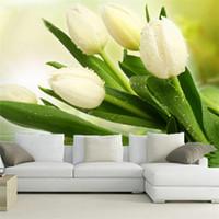 tulipán mural al por mayor-Personalizada Foto Wallpaper Murales 3D Moderna Sala de estar TV Telón de fondo Decoración de la pared Dormitorio Fresh White Tulips Non-woven Mural Wallpaper