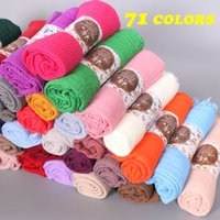 Wholesale bubble scarves - 20PCS Lot 76Colors High Quality Plain Colors Crinkled Bubble Cotton Scarf Shawl with Fringes Muslim Hijab Head Wrap Large Size