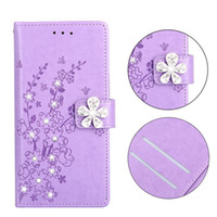 Wholesale cherry plum blossom - Bling Diamond Flower Wallet Leather Case For Iphone X 8 7 6 6S Plus 5 SE 5S Huawei Honor 8 9 P9 P10 P20 Lite Cherry Plum Blossom Flip Cover