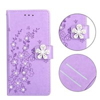 Wholesale iphone cherry blossom cases online – custom Bling Diamond Flower Wallet PU Leather Case For Iphone X XS S Plus SE S Huawei Honor P9 P10 P20 Lite Cherry Plum Blossom Cover
