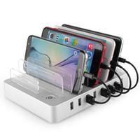 mini cargadores de celular al por mayor-5V 2.4A Multi 4 puertos de carga USB Cargadores de teléfonos inteligentes con soporte para tableta Accesorios para iPhone XR XS MAX IPAD PRO mini 40p