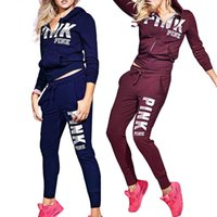 Wholesale custom zipper hoodies - Women Pink Letter Print Tracksuit Long Sleeve Zipper Hoodie and Sweat Pants 2pcs set Casual Jacket Pullover and Trousers Sportswear Set