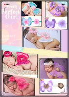 Wholesale Photo Butterflies - Fashion Hair Accessories Hair Clips 10styles Newborns Baby photo photography props costumes set baby flower Headband mini butterfly wings530