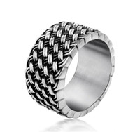 Wholesale men's wedding rings - Titanium Steel Ring Retro Love Intertwined Ring Retro Knitting Men s Individuality Dominance Rings Factory Direct KKA1955