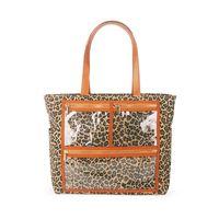 Wholesale wholesale clear pvc handbags - ROYALBLANKS Wholesale Cheetah Canvas Essential Oils Handbag With Clear Pockets Accessories Purse Leopard PVC Display Bag Free Shipping 576