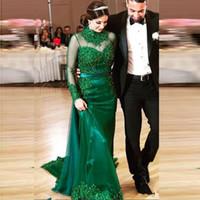 vestidos de novia verdes únicos al por mayor-Únicos vestidos de novia de colores verde árabe cuello alto Sheer mangas largas de encaje con cuentas de novia Vestidos Apliques recepción de vestir