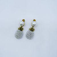 barocke perlenohrringstollen großhandel-New Barock Vintage Perle Ananas Ohrstecker für Frauen Modeschmuck Antique Gold Frucht Perle Anweisung Ohrring Braut Brincos