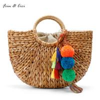 Wholesale Natural Baskets - beach bag straw totes bag bucket summer bags with tassels pom pom pompon women natural basket handbag 2017 new high quality