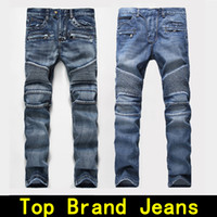 Wholesale Denim Designer Brand - Mens jeans Distressed Robin Motorcycle biker jeans Rock revival Skinny Slim Ripped hole Men's Famous Brand Denim pants Men Designer jeans
