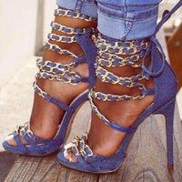 bej parti sandaletleri toptan satış-2018 Yaz Yeni Marka Kadınlar Mavi Bej Çapraz Zincirler Fermuar Geri Süet Gladyatör Stiletto Topuk Elbise Parti Sandalet Pompalar Lady Boyutu 42