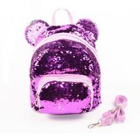Wholesale women bling backpack resale online - Sequins Backpacks Teenager Girls PU Bling Backpack glitter Girls Travel Shoulder Bags School Bag sequin backpack