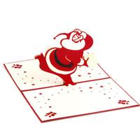 ano novo 3d feito à mão venda por atacado-Tridimensional Papai Noel 5Pc Festival Cartão 3D Handmade Cartão Postal de Ano Novo Cartão de Natal