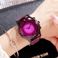 Wholesale Brown Glass Table - GUOU luxury fashion womens watch handsome big dial water drill table Red Purple Leather Strap Ladies Watch free shipping