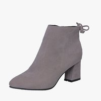 Wholesale brown ladies cowboy boots online - Woman Fashion Zip Slip On Solid Bowtie Flock Thick Heel Rubber Casual Autumn Ankle Boots Ladies Black Style Shoes