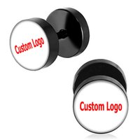 Wholesale illusion plugs - Wholesale Custom Studs Earrings Black Round Fake Ear Plugs Cheaters Illusion Ear Studs Stainless Steel 10mm*1.2mm 40 Pieces