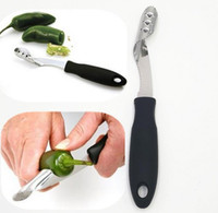 Wholesale bell peppers seeds - 2018 Green Pepper Corers Kitchen gadgets Easy Remove Chili Tomato Core Furit & Vegetables Tools Bell Peppers Seed Remover