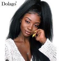 yaki peluca de encaje remy recta al por mayor-Kinky Straight 360 Lace Frontal Peluca Pre Plucked With Baby Hair 180% Density Lace Front Pelucas de cabello humano Yaki Dolago Remy grueso