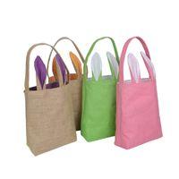 Wholesale Plastic Sack Bags - 10 Colors Christmas Gifts Bunny Ears Tote Bags Large Sack Bag Canvas Cotton Stocking Bag Hand Bag 25.5*30.5*10cm
