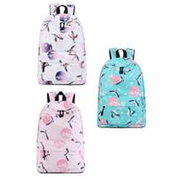 рюкзаки для птиц оптовых-Women School Backpack Travelling Waterproof Laptop Backpack Large Capacity Bird Crane Print