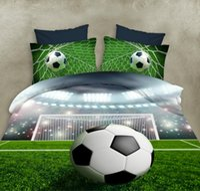 ingrosso copriletti verdi queen size-Lannidaa Green 3D stampato World Soccer Bedding Set 4 pezzi Include copriletto Lenzuolo Federa Lenzuolo Set Queen Size