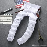 agujeros de jeans destruidos al por mayor-Pantalones al por mayor-Swag para hombre de la marca Pantalones vaqueros negros, desgarrados, desgastados, ajustados, ajustados, pantalones de lúpulo con agujeros para hombres JS34