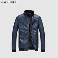 89b4fd2f45b6a CARANFIER Mens Leather Jackets Men Faux Spring Autumn Thin Coats Biker  Motorcycle Male Business Jacket Stand Collar Outerwear D18100902