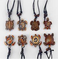 Wholesale Turtle Necklace Bone - Mixed Styles Ethnic Tribal Faux Yak Bone Sea Turtle Pendants Necklace Adjustable