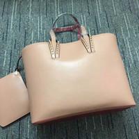 bolsos de cuero rojo real al por mayor-Christin Loubtin bolsos de diseño rojos dentro de la parte inferior de la moda de lujo bolso compuesto de moda bolso de diseñador de cuero real bolsas de monedero