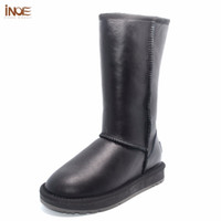 Wholesale sheep winter boots - INOE Classic real sheepskin leather sheep fur lined high winter snow boots for women winter shoes waterproof flats 35-44 black