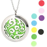 Wholesale 10pcs Round Silver Ocean Flower magnet locket Stainless Steel Premium Aromatherapy Essential Oil Diffuser Necklace With Free chain and Pads