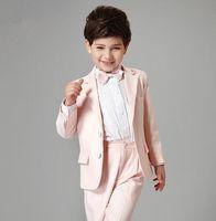 ingrosso giacca rosa dei ragazzi-Custom Made Two Buttons Notch Risvolto Pink Kid Completo Designer Handsome Boy Wedding Suit Abbigliamento per ragazzi Custom made (Jacket + Pants + Tie)