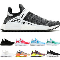 Wholesale china men basketball sneakers for sale - Group buy Human Race trail Running Shoes Men Women Pharrell Williams HU Runner Black White Peace Passion Younth China Limited Sports Sneakers