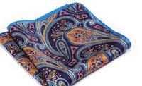 ingrosso fazzoletto blu navy-Fazzoletto da taschino Hisdern blu navy arancione naturale in raso di seta da uomo