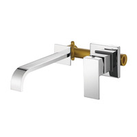 Wholesale chrome ceramic basin handles resale online - Brass Single Handle Wall Mounted Bathroom Sink Faucet Hot Cold Basin Faucet Chrome Tap In wall Mounted Faucets