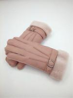 lange wollhandschuhe großhandel-Freies Verschiffen - Neue Qualitätsweibliche Wollhandschuhe Wintermode Warme Handschuhe Echte Lederhandschuhe - Dick Länger
