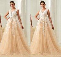saydam elbiseler toptan satış-Yeni Tasarım Gelinlik Modelleri A-Line Mop Uzun Bölüm Jewel Backless Saydam derin V Tül Dantel Aplike Parti Elbise Akşam Giymek